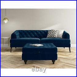 Navy Blue Ottoman Storage Footstool Buttoned Inez INE003