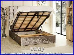 Nevada Gas Lift Ottoman Storage Bed Crushed Velvet, Chenille, & Linen Fabrics