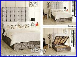 Nevada Ottoman Storage Bed Upholstered in Crushed Velvet Fabric Made in UK