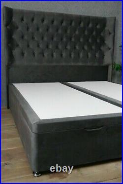 New 6ft Ottoman Storage Divan Soft Plush Luxury Grey Velvet Gas Lift End Opening