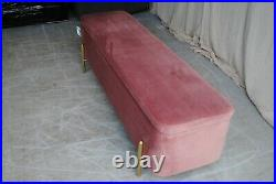 New Asare 150cm Upholstered Ottoman Storage Bench Pink Velvet / Copper Seconds