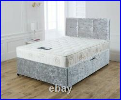 New Crushed Velvet Divan Bed Set With Memory Mattress And Free 20 Headboard