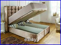 New Cube Winged Velvet Fabric Gas Lift Ottoman Storage Divan Bed Frame Headboard