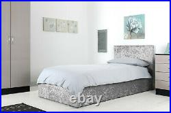 New Grey Crush Velvet 3ft Single Ottoman Storage Gas End Lift Up Bed Strong