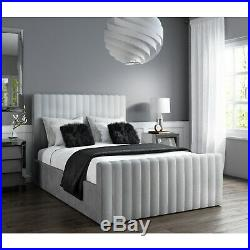 New King Size Storage Bed in Silver Grey Velvet Side Ottoman