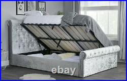 New Luxury Crushed Velvet Silver Gas Lift Ottoman Storage Sleigh Bed Frame