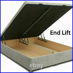 New Ottoman Divan Storage Bed Gas Lift Up Floor Standing Headboard End opening