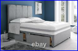 New Regent Fabric Panel Style Headboard Divan Bed with Storage Drawers