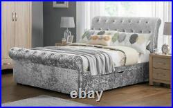 New Sleigh Silver Crushed Velvet Fabric 2 Drawer Storage Bed Frame 4FT6 5FT