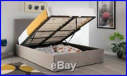 New Steel Grey 4ft6 Double Ottoman Plush Velvet Storage Gas Lift Up Bed Strong