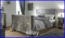 Newark 5ft Kingsize Upholstered Electric Tv Bed Crushed Velvet Storage Space