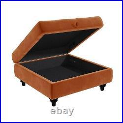 Orange Ottoman Storage Footstool Buttoned Inez