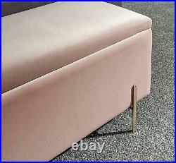 Osborne Upholstered Window Ottoman Storage Bench Fabric Blanket Box Blush Pink