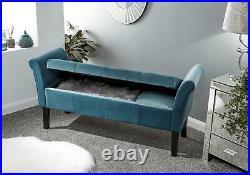 Osborne Upholstered Window Ottoman Storage Bench Fabric Blanket Box Teal