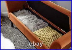 Osborne Upholstered Window Ottoman Storage Bench Russet Fabric Blanket Box