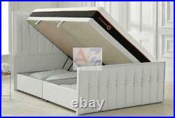 Oslo Divan Base Side Lift Storage Bed, Ottoman Side Gas Lift Bed in Plush Velvet