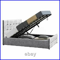 Ottoman Bed 4ft6 Double Wood Frame Under Storage Gas Lift Crushed Velvet Silver