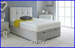 Ottoman Bed Divan Storage Plush Velvet + Deluxe Bed Head FOOTLIFT-GAS LIFT