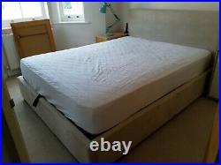 Ottoman Bed with Mattress, King Size Velvet, Beige, Hydraulic Storage