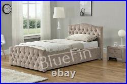 Ottoman Chesterfield-Style Storage Bed Linen Dark/ Light Grey in Single 3FT