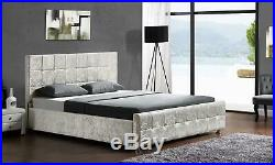 Ottoman Double King Size Storage Fabric Velvet Chenille Bed Various Colours New