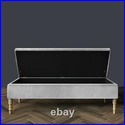 Ottoman Footstool Bench Upholstered Storage Blanket Box Lift Up Pouffe Seat