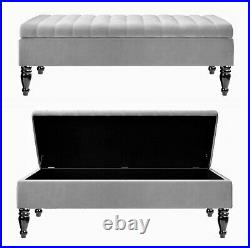 Ottoman Footstool, Storage Box, Velvet Upholstered Coffee Table, Bench, Pouffe