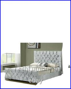 Ottoman Gas Lift Pine Storage Bed Diamante Crushed Velvet Chenille Double King