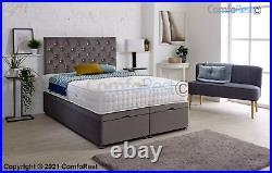 Ottoman Gas Lift Storage Divan Bed + Headboard + Mattress Option Made in UK