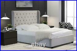 Ottoman Storage Bed 4ft Double Brushed Velvet Light Grey Fabric Winged Back