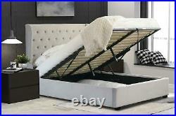 Ottoman Storage Bed 5ft King Size Brushed Velvet Light Grey Fabric Winged Back