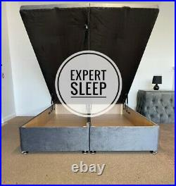 Ottoman Storage Bed Divan Gas Lift Base Any Fabric or Colour FREE 20 HEADBOARD