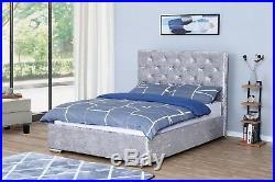 Ottoman Storage Bed End Gas Lift Up Crushed Velvet Frame Mattress Optional