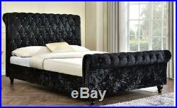 Ottoman Storage Bed Frame Plush Velvet Chesterfield Gas Lift, 4FT6 Double SALE
