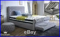 Ottoman Storage Bed Frame Plush Velvet Chesterfield Gas Lift, 5FT King Size SALE