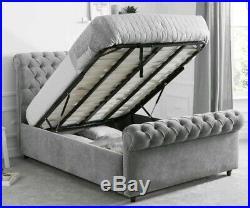 Ottoman Storage Bed Frame Plush Velvet Chesterfield Gas Lift 6FT Super King Size