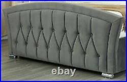 Ottoman Storage Bed Frame Plush Velvet Fabric Grey Studded Double King Livorno