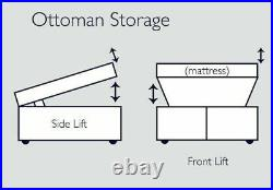 Ottoman Storage Bed Gas Lift Upholstered Double Fabric Bed Frame Base Headboard