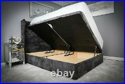 Ottoman Storage Bed Upholstered Gas Lift Base Frame with Chesterfield Headboard