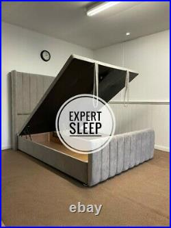 Ottoman Storage Bed Wingback 59 Headboard Divan Base Gas Lift Footboard Naples