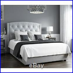 Ottoman Storage Bed in Silver Grey Velvet Wing Back King Size Safina Range