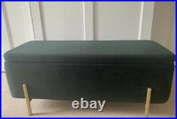 Ottoman Storage Bench, Velvet Green and Brass RRP £199 From MADE. COM