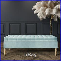 Ottoman Storage Bench in Duck Egg Blue Velvet