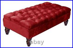 Ottoman Storage Box Bench Footstool Ottoman Velvet Upholstered Toy Box