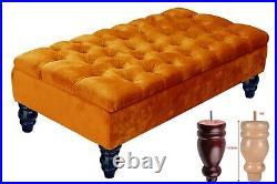 Ottoman Storage Box Bench Footstool Plush Velvet Upholstered Toy Box Wooden Legs