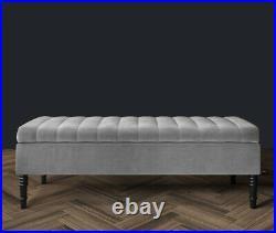 Ottoman Storage Box Footstool Ottoman Bench Velvet Upholstered Toy Blanket Box