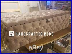 Ottoman Storage Box Full Chesterfield Upholstered Deep Buttoned Plush Velvet 46