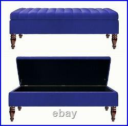 Ottoman Storage Box Plush Velvet Upholstered Footstool Bench Coffee Table Pouffe