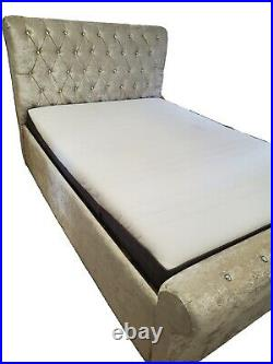 Ottoman Storage Double Bed in Ivory Crushed Velvet Fabric