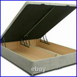 Ottoman Storage Fabric Gas Lift Divan Bed Frame Base Vertical Panels Headboard